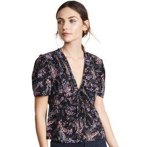 Cinq a Sept Keira Snapdragon Floral-Print Silk Top